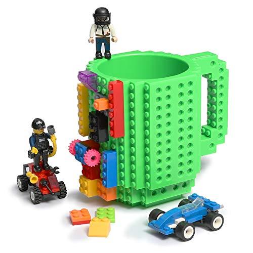 Lumsburry Build-on Bricks Tassen Becher, Kreative DIY Kaffeetasse Baustein Kaffee Tee Trinken Spaß Trinken Geschenk (Grün)