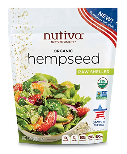 Nutiva Organic Raw Shelled Hemp Seed, US Grown, 24 Ounce USDA Organic, Non-GMO, Non-BPA Vegan, Gluten-Free, Keto & Paleo 10g Protein and 3g Omegas per Serving for Salads, Smoothies & More