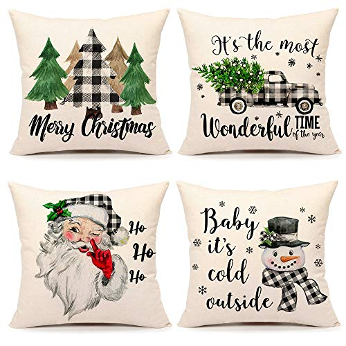Christmas Pillow Covers 18x18 Set of 4 Farmhouse Christmas Decor Black White Buffalo Plaids Winter Holiday Decorations Throw Cushion Case for Home Couch(Tree, Rustic Truck, Santa Claus, Snowman Quote)
