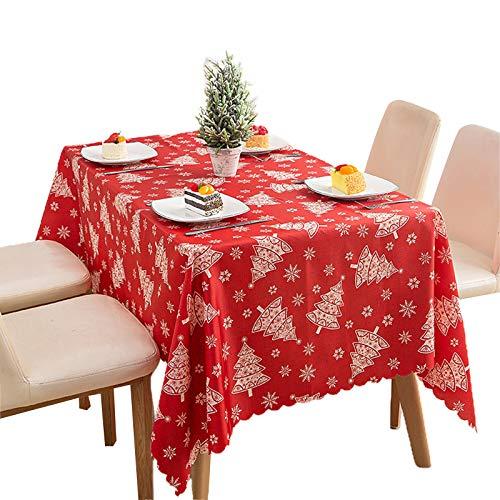 WE-WHLL Mantel Rectangular de Navidad Copo de Nieve Árbol de Navidad Impreso Cubierta de Mesa Lavable para el hogar Cocina Comedor Decoración de Fiesta-A