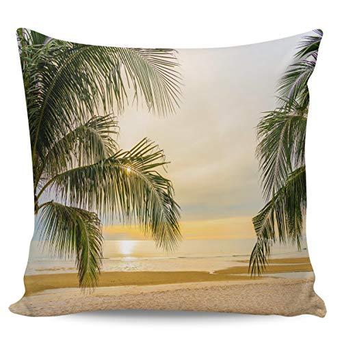 Scrummy Fundas de almohada de 50,8 x 50,8 cm, para verano, playa, palmeras tropicales, hermosas doradas, fundas de cojín cuadradas para decoración del hogar
