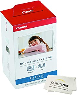 Canon KP-108IN 3 Color Ink Cassette and 108 Sheets 4 x 6 Paper Glossy for SELPHY CP1300, CP1200, CP910, CP900, CP760, CP770, CP780 CP800. Bonus: Quality Photo Microfiber Cloth