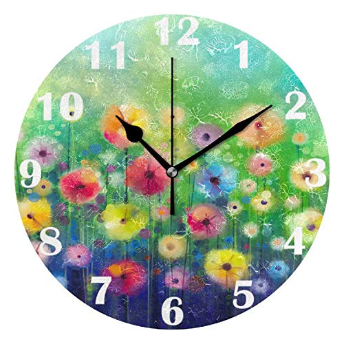Pfrewn Colorful Floral Watercolor Wall Clock Silent Non Ticking Rainbow Sunflower Daisy Clocks Battery Operated Vintage Desk Clock 10 Inch Quartz Analog Quiet Bedroom Living Room Home Decor