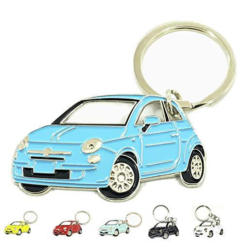 3dcrafter FIAT 500 Keyring schlüsselanhänger Fanartikel schlüssel anhänger Keychain Accessories (Blue)