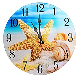 Sea Creations Shell Glass Wall Clock New 13X 13 Home Wall Decor Coastal Nautical Beach