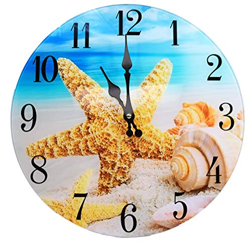 "Sea Creations Shell Glass Wall Clock New 13""X 13"" Home Wall Decor Coastal Nautical Beach"