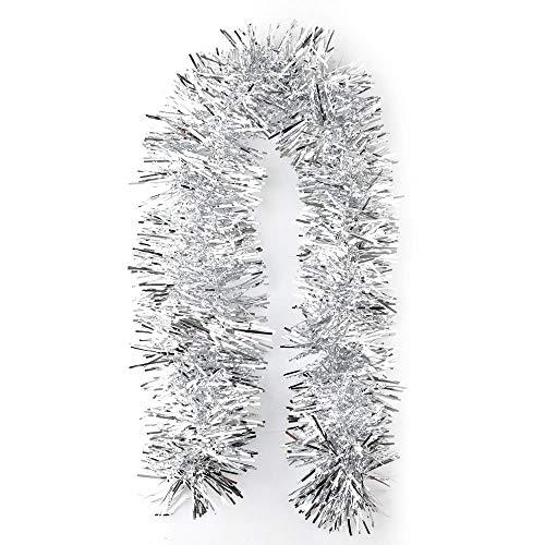 LLZ.COQUE 2 Pack 2 Meter Weihnachten Lametta Girlande Baum Dekoration lange Weihnachten Glänzend Hängende Dekoration Glänzend Girlande für Weihnachten Hochzeit Geburtstag Party Dekoration Silber