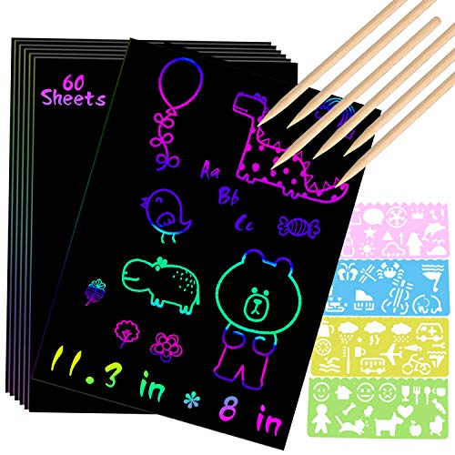 Scratch Paper Art Set 60 Sheets A4 Rainbow Magic Scratch Art Black Scratch it Off Paper Crafts Notes...