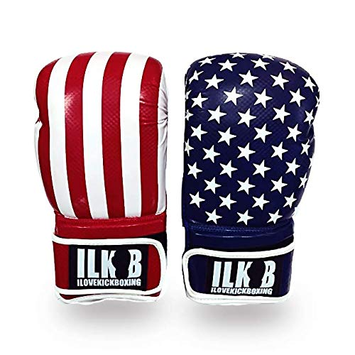 BROOKLYN VERTICAL 16oz. Kick Boxing Glove USA Flag Red White Blue Pattern   Training Bag Gloves Strong Quality