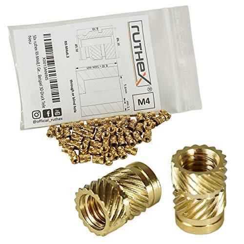 ruthex Gewindeeinsatz M4 (50 Stück) - RX-M4x8,1 Messing Gewindebuchsen - Einpressmutter für Kunststoffteile - durch Wärme oder Ultraschall in 3D-Druck Teile