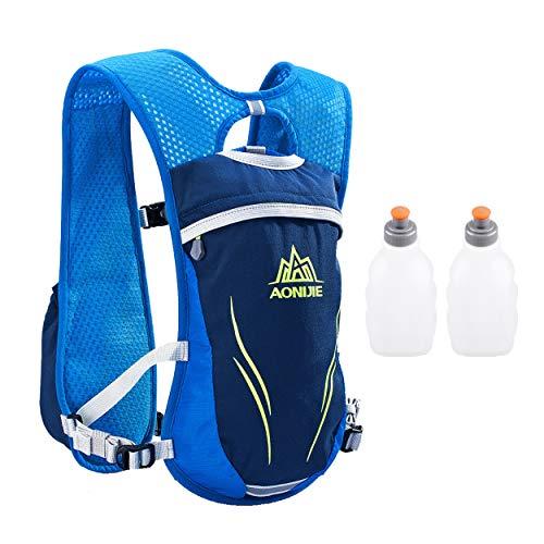 Azarxis - Mochila de Hidratación 5.5L Trail Running Ligera Chaleco Ciclismo con Bidon de Agua para Senderismo Escalada Corriente (Azul - con 2 Botellas de Agua (250 ml))