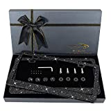 OKLPF Bling License Plate Frame for Women, Sparkly Stainless Steel License Plate Frames  Over 1200 pcs 14 Facets Bedazzled Clear Glass Diamond Rhinestone Crystals w/Free Glitter Black Diamond Box