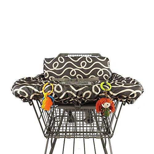 2-in-1 Shopping Cart Cover for Baby Padded Toddler High Chair Cover with Cell Phone Holder-Summer Grocery Cart Liner for Boy or Girl Large Size (Dark Gray Curve)