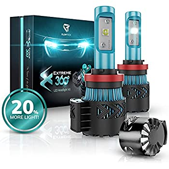 Glowteck H11 /H9/H8 LED Headlight Bulbs Conversion Kit - CREE XHP50 Chip 12000 Lumen/Pair 6K Extremely Bright 68w Cool White 6500K For Bright & Greater Visibility
