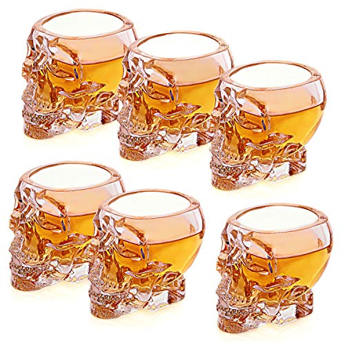 Set of 6 Skull Shaped Clear Glass Novelty 2.8 oz Shot Glasses/Decorative Halloween Drinkware - MyGift