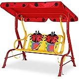 Spielwerk Hollywoodschaukel | mit Sonnendach und Sicherheitsgurten | 2 Sitzer | Gartenschaukel Schaukelbank Doppelschaukel für Kinder
