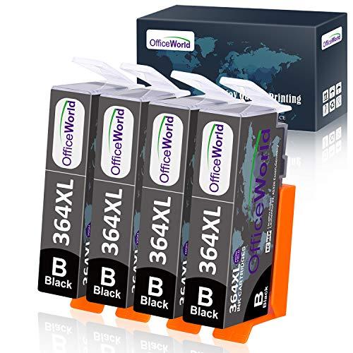 OfficeWorld Sostituzione per HP 364 364XL Nero Cartucce d'inchiostro Compatibile per HP Photosmart 5520 5510 6520 7510 7520 D5460 B109A B110A, HP Deskjet 3070A, Pacchetto di 4