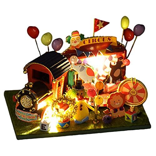 sharprepublic Circus Stil Miniatur Zug Motiv Puppenhaus DIY Kit mit LED - Leuchte Miniaturhaus - Bastelset für Kinder Junge Mädchen