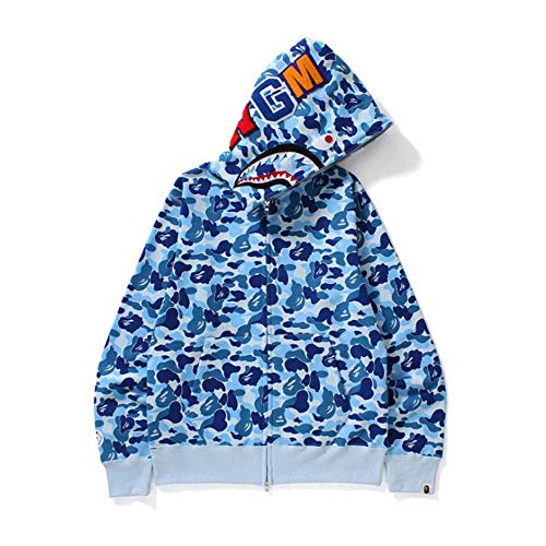 Bape Shark Camo Pullover Hoodie, Unisex de Manga Larga con Estampado de Grafiti con Cremallera, Aumenta el Valor Genial en un 100%,Blue,M