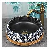 Lavabo Fregadero de recipientes de baño redondo, sobre la capa...