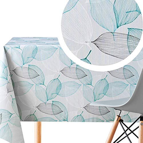 KP HOME Wipe Clean Tablecloth Grey And Teal Leaves Pattern PVC Table Cover - Rectangle 200 x 140 cm Wipeable Vinyl Plastic Table Cloth With Modern Leaf Design