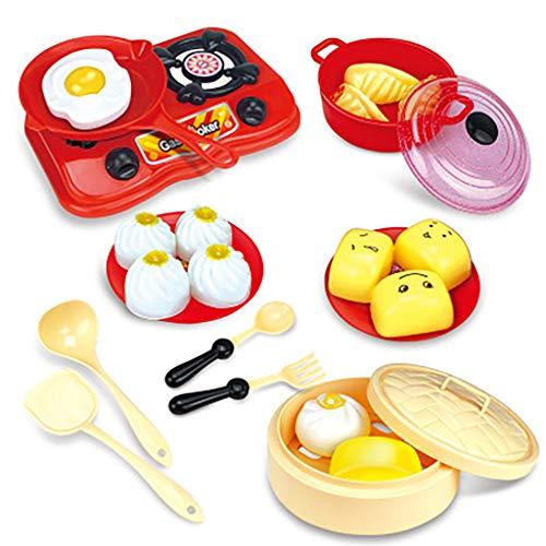 Luccase Kinder Kochutensilien Spielzeug Set Mehrfarbig Kunststoff Küche Kochutensilien Töpfe Pfannen Dampfgarer Induktionsherd Kochgeschirr Brotspielzeug Set für Kinder