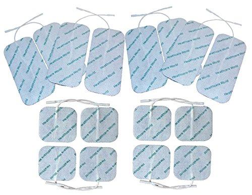 TENS / EMS Elektroden vorverdrahtet mit hochwertigem selbstklebendem Gel Combo Pack 8 quadratisch 5x5xcm und 8 groß 5x10cm Healthcare World