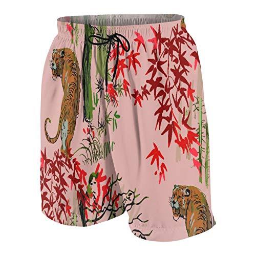 MAYBELOST Pantalones Cortos de Playa para Hombre,Tigre japonés Chino Naturaleza Tinta grabada SK,Trajes de baño de Secado rápido Trajes de baño con Forro de Malla y Bolsillos