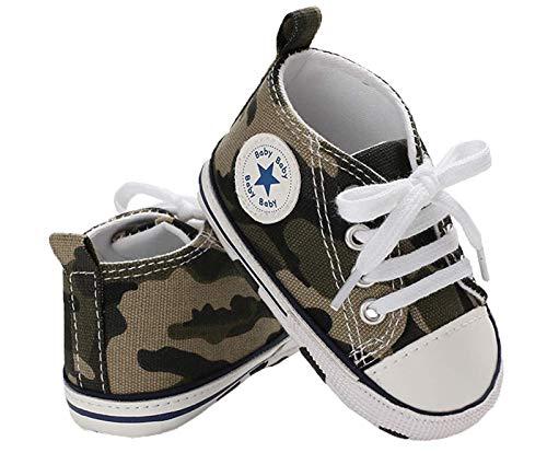 WangsCanis Babyschuhe Baby Junge Mädchen Schuhe Sneakers Weiche Leinwand mit Weichen und Rutschfesten Sohle Für 0-6 6-12 12-18 Monat (Tarnung, 9_Months)