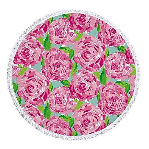 YDyun Toallas Playa algodón Fino Muy absorbentes, Ligeras y de máxima suavidad. Pintura al óleo de Color Flor Redonda