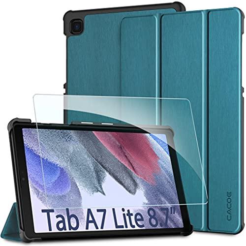 CACOE Funda Compatible con Samsung Galaxy Tab A7 Lite 8,7 Pulgadas 2021 Tableta SM-T225/SM-T220 con Cristal blindado, Ultra Slim PU Protectora Carcasa con Función de Soporte, Azul Pavo Real