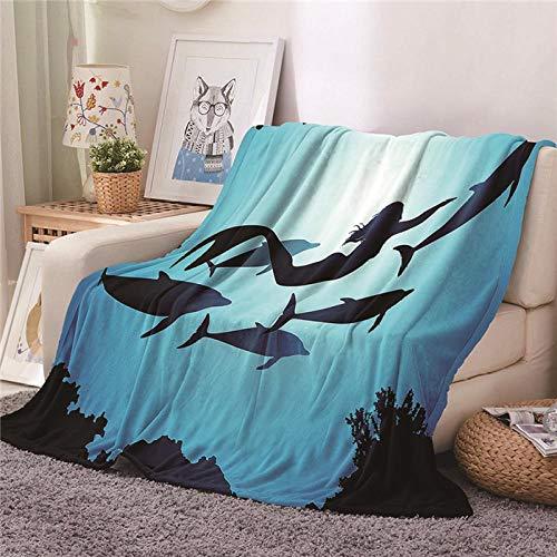 WAFJJ Soft Flanelldecke Blau & Meerjungfrau 3D-Druckdecke Sofadecke Wolldecke Bettlaken Warm Und Isolierung Camping,für alle Jahreszeiten bequem Geschenk Größe:180x200cm