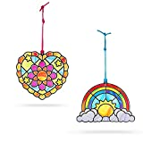 Melissa & Doug Stained Glass Made Easy Activity Kit, Rainbow & Heart Ornaments (80+ Stickers, Great Gift for Girls and Boys - Best for 5, 6, 7 Year Olds and Up)