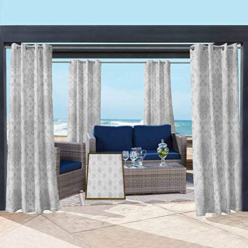 Grey Lightweight Curtain for Pergola Decoration Privacy Curtains Classic Victorian Floral Patterns Tulips Nostalgic Romantic Modern in Vintage Style Bohemian Grey 76W x 108L Inch