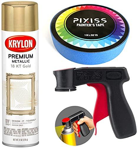 Krylon Gold Metallic Spray Paint 18K Gold 8-Ounce, Snap and Spray Paint Can Handle Sprayer Tool, Blue Multi-Surface Painters Tape