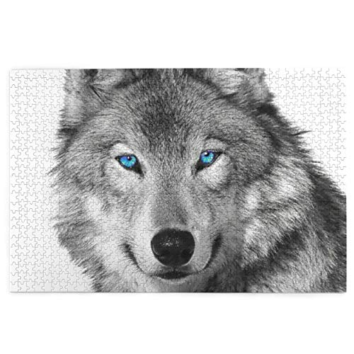 antcreptson Blue-Eyed Wolf Printed Twin Sides 1000 Pieces Wooden Jigsaw Puzzles Large Puzzle Games Educational Learning Toy for Boys Girls Gift Home Decorations-29.5x19.7 Inch