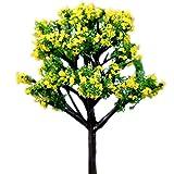 Phononey 2X Dekoration Mini Baum Blume Karikatur Puppenhaus Miniatur Landschaft Ornament Fairy Garden Kunststoff Geschenk kreatives für Nette Gartendeko Werkzeug 5-7cm Gelb