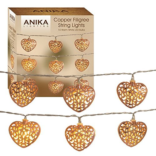 Anika 10 Copper Coloured Filigree Hearts with Warm White Battery Operated LED String Lights