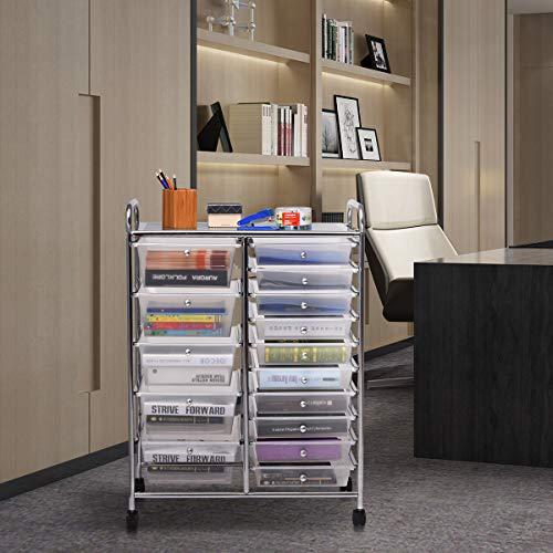 Giantex 15 Drawer Rolling Storage Cart Tools Scrapbook Paper Office School Organizer, Clear