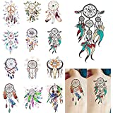 Ownsig 12 Sheets Waterproof Temporary Tattoos Dream Catcher Tattoo Stickers for...