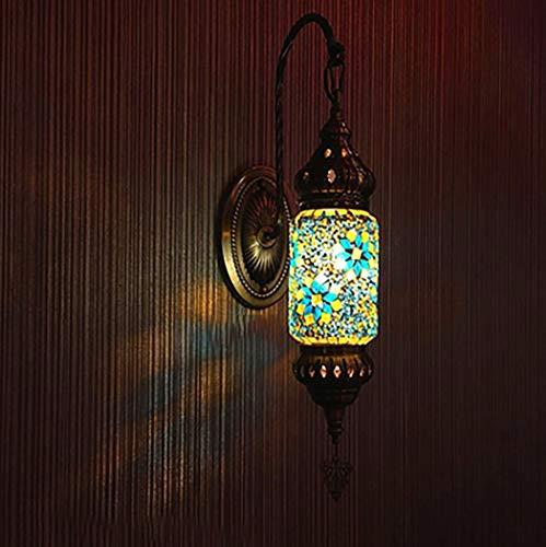Yjmgrowing Türkisch Marokkanisch Tiffany-Art-Wand-Leuchter-Lampe Vintage antike Lampe mit Mosaik-Laterne, Bronze-Basis, Wandleuchte,J