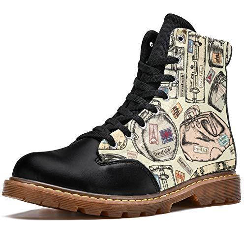 NewLL Botas de combate con cordones para mujer, estilo vintage, con estampado de maletas, tacón bajo, para invierno, para mujer, color, talla 41.5 EU
