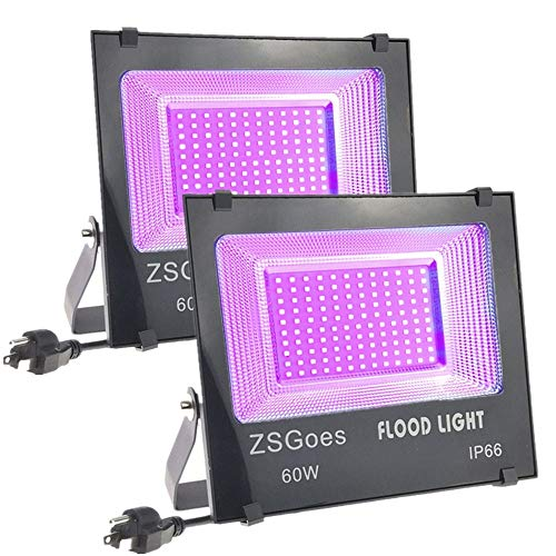 ZSGoes 2 Pack 60W UV LED Flood Black Light Waterproof for Blacklight Party Supplies, Body Paint, Fluorescent Poster, Stage Lighting, Neon Glow, Glow in The Dark, Glue Curing, Aquarium, with US Plug