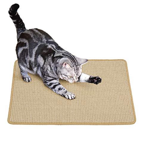 PETTOM Kratzmatte Katze, Kratzteppich Sisal 40×60cm, Kratzbretter Boden rutschfest, Natürlicher Sisalteppich für Katzen (40×60cm, Braun)