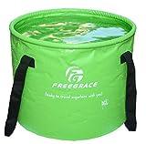 Freegrace 折りたたみ式 バケツ 持ち運び 畳めるデザイン 水の容器 水汲み 軽量 丈夫 便利 メッシュポケット付 複数色 複数サイズ コンパクト
