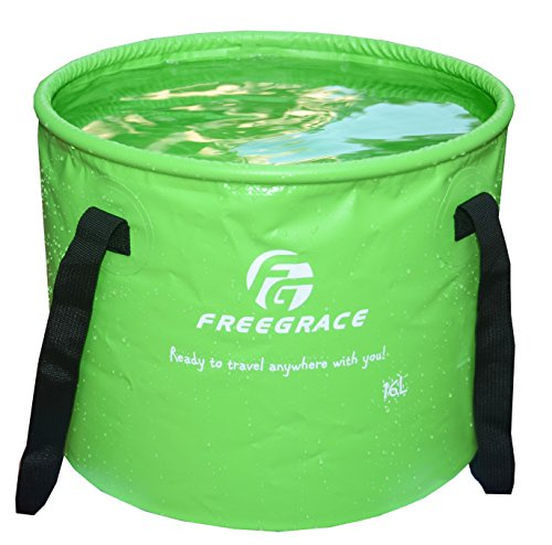 Freegrace Premium Collapsible Bucket -Multifunctional Folding Bucket -Perfect Gear for Camping, Hiking & Travel (Green, 16L)