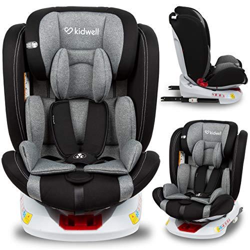 KIDWELL ORBIT Autositz 360° drehbar Kindersitz 0-36 kg mit Isofix | 0-11 Jahren | Gruppe 0/0+ / 1/2/3 | mit 5-Punkt-Gurtsystem | verstellbare Kopfstütze | stabil & sicher | Schwarz