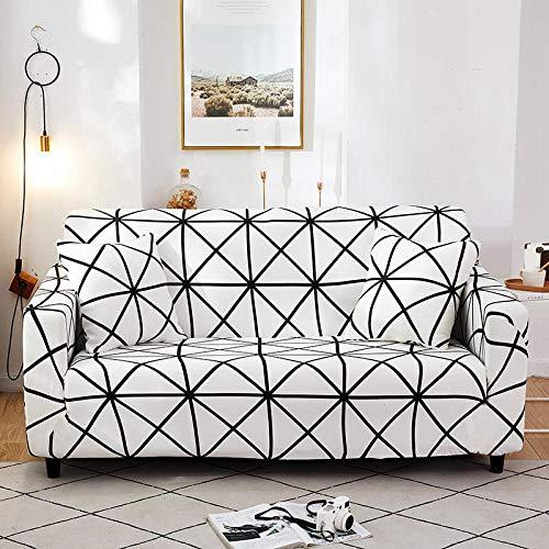 Funda de sofá de 2 Plazas Funda Elástica para Sofá Poliéster Suave Sofá Funda sofá Antideslizante Protector Cubierta de Muebles Elástica Tela Escocesa Blanca y Negra Funda de sofá