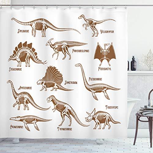 ABAKUHAUS Velociraptor Duschvorhang, Reptilien Antike Dinos, mit 12 Ringe Set Wasserdicht Stielvoll Modern Farbfest & Schimmel Resistent, 175x200 cm, Weiß & Braun