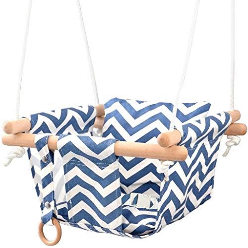 LUGEUK Silla de Colgante de bebé Europea y Americana para bebés para bebés de algodón de algodón para bebé con cinturón de Seguridad Antideslizante y Transpirable (Azul)